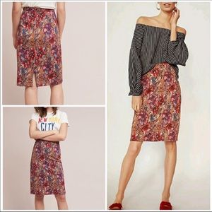 Maeve, by Anthropologie Red Floral Pencil Skirt M